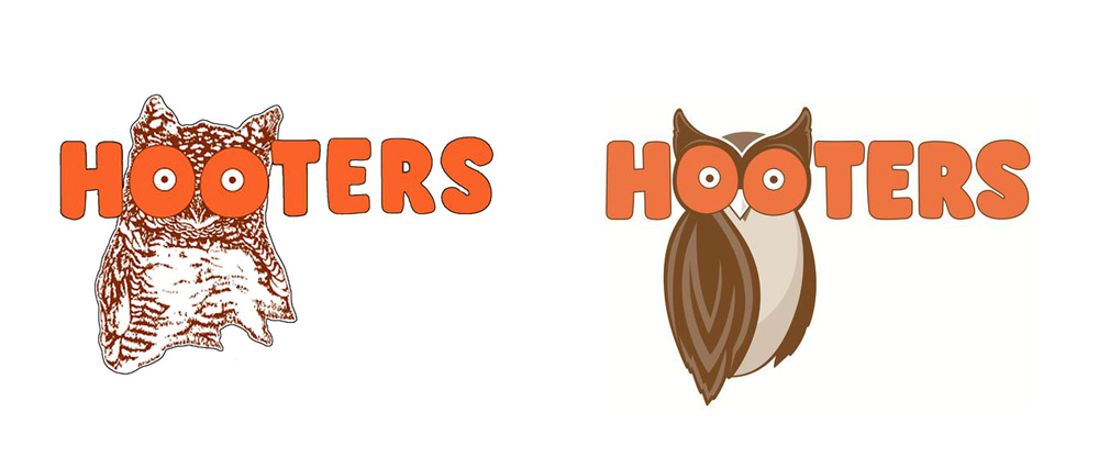 Hooters Owl Logo Design Before and After
