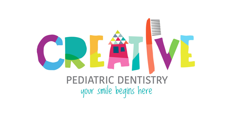Creative Pediatric Dentistry Colorful Toothbrush Icon Logo Design
