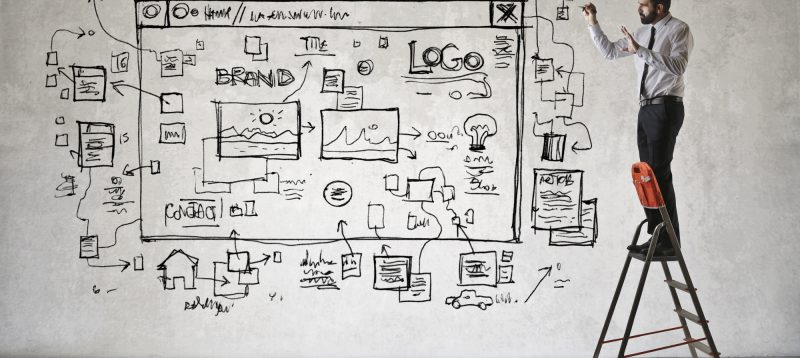 website developer envisioning a landing page layout