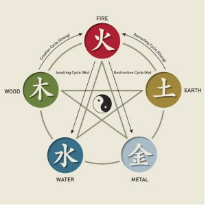 Diagram of the 5 Elements Earth, Wind, Water, Wood, Metal around a 5 point Star