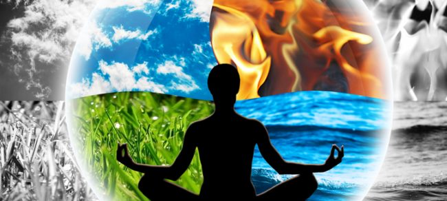 Female yoga figure against background of four elements