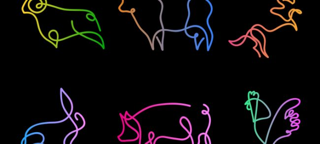 line drawings of farm animals