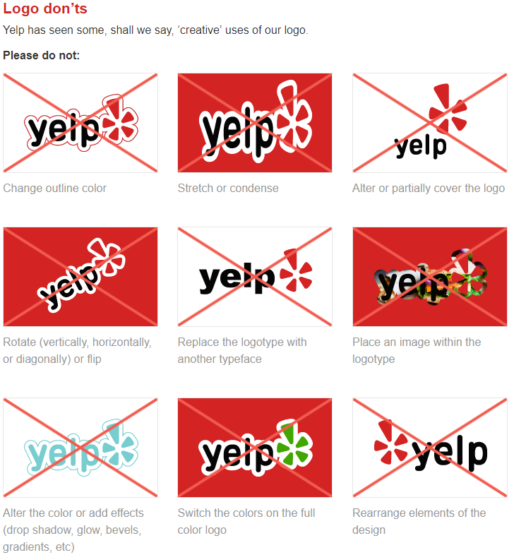 Yelp editing guidelines