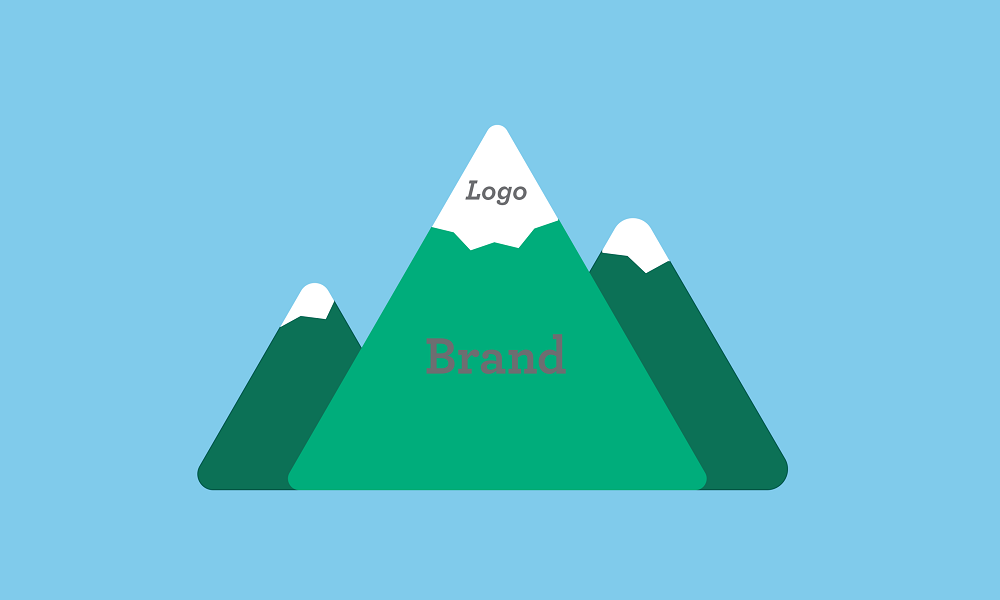 Mountain with Snowy Top representing your Logo and Bottom of Mountain representing Brand