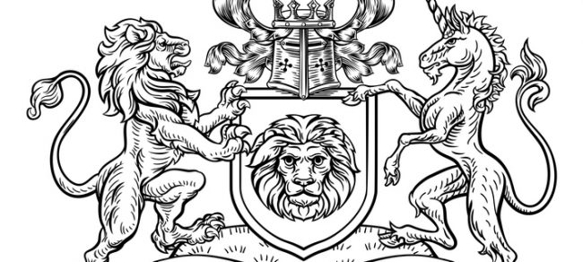 A lion and unicorn heraldic coat of arms