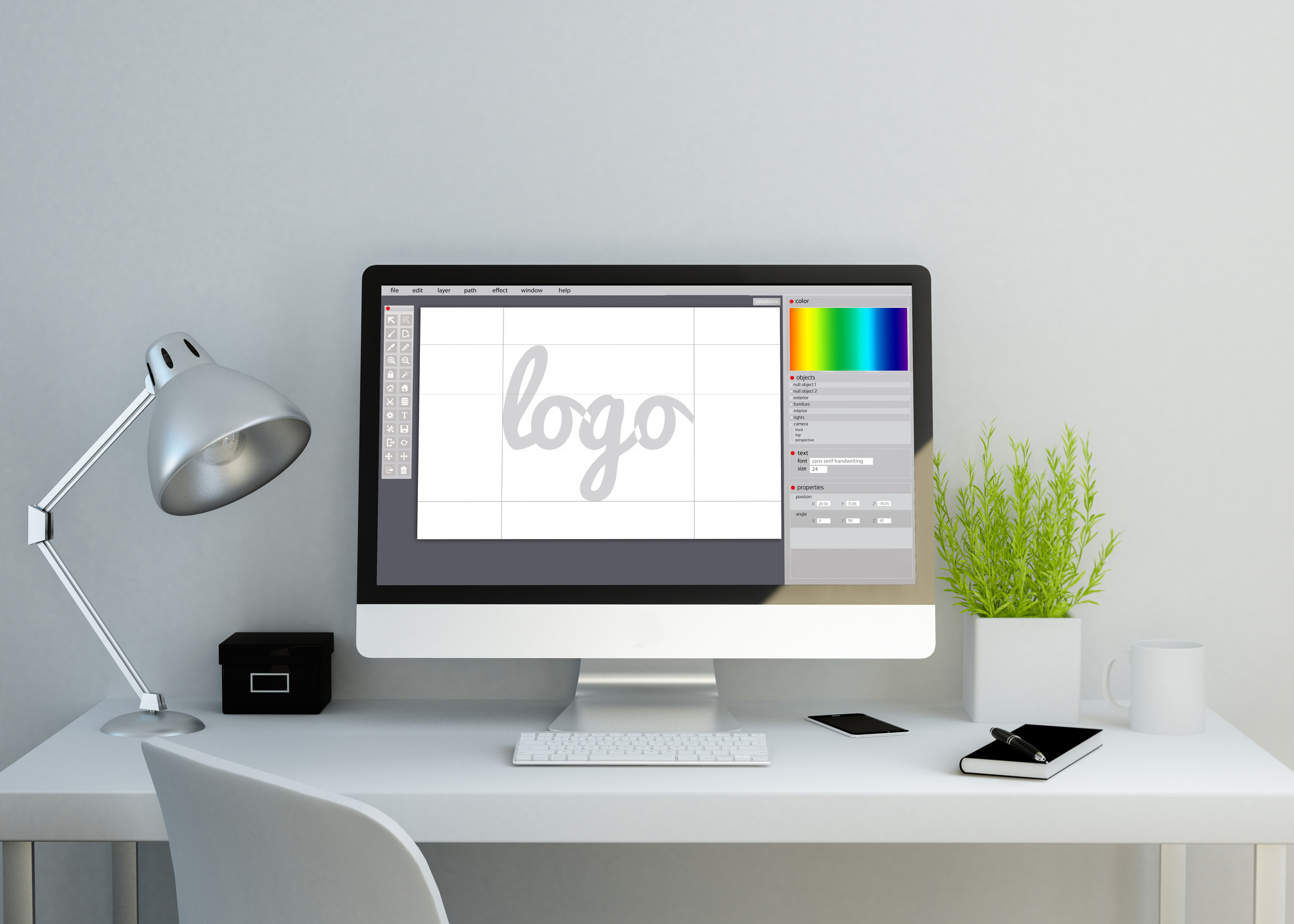 logo design on desktop