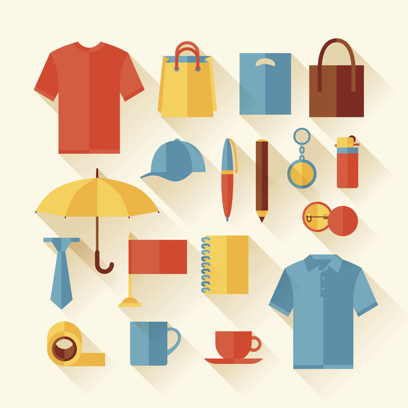 Icons of Marketing promotional products including tshirts polos totes and mugs